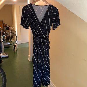 H&M Navy Dress White & Tan Stripes